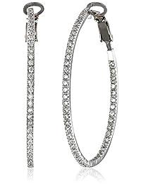 Sterling Silver Cubic Zirconia Large Round Hoop Earrings