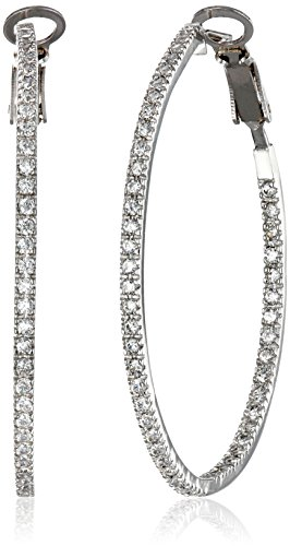 Sterling Silver Cubic Zirconia Large Round Hoop Earrings