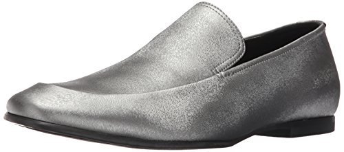 Calvin Klein Men's Nicco Emboss Leather Slip-On Loafer, Gunmetal, 11.5 M US by Calvin Klein
