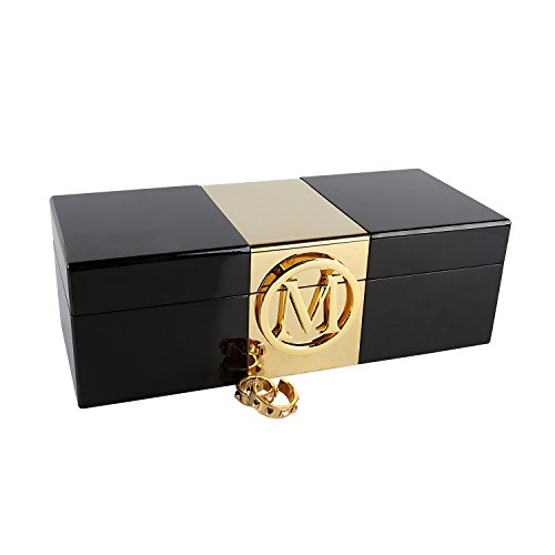 A Comely Lacquer Initial Personalised Jewelry Box Monogram High Gloss Wooden Accessories Storage Organizer Case (Black, M)
