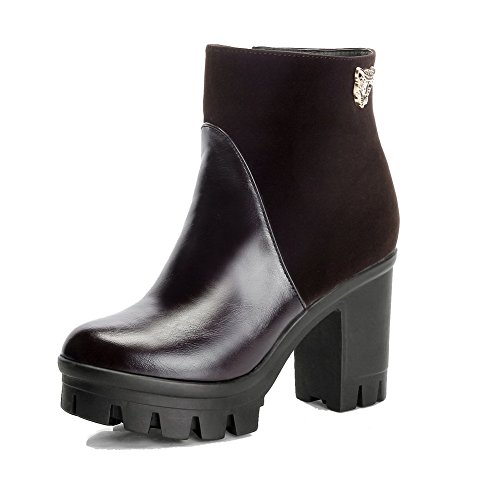 AmoonyFashion Womens Low-Top Solid Zipper Round Closed Toe High-Heels Boots Brown