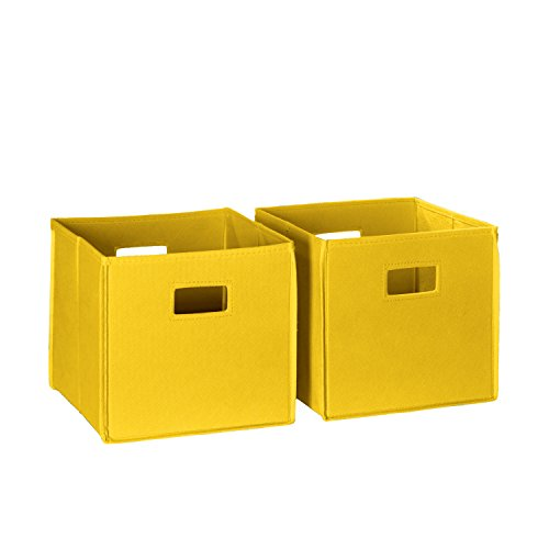 RiverRidge 2-Piece Folding Storage Bin Set, Yellow (Folding Set Storage Bins)
