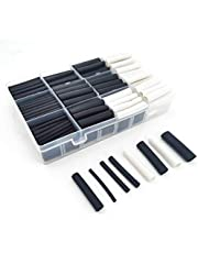 320pcs 3:1 Dual Wall Adhesive Heat Shrink Tubing Kit, 7 Sizes of Diameter: Φ2.4, 3.2, 4.8, 6.4, 7.9, 9.5, 12.7mm, 2 Color:Black & White with Storage Case for DIY