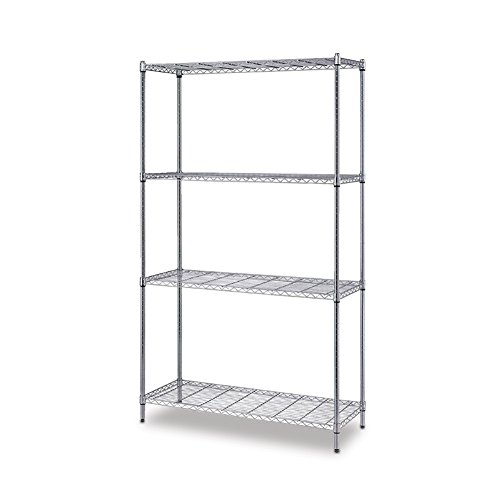 Steel Reinforced Shelving Unit - Quantum Storage 4-Shelf Wire Shelving Unit, 300 lb. Load Capacity per Shelf, 72
