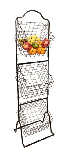 JMiles UH-MB263 Three Tier Market Basket for Fruits and Vegetables - Stackable Three Tiered Standing Basket Perfect for Produce Display at Markets, Gas Stations, and Beyond (Tiered Basket Floor Stand)