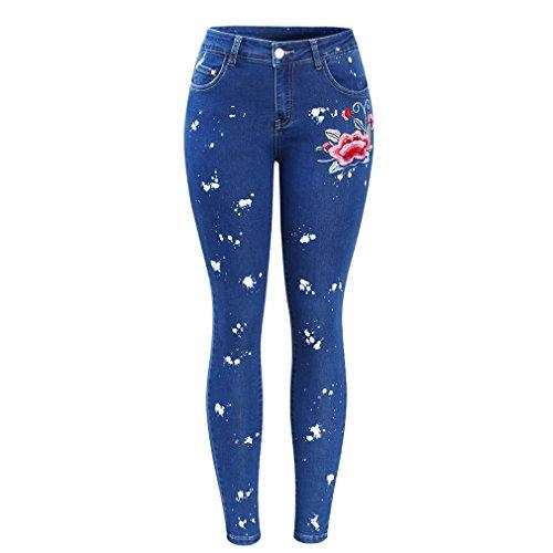 Vaqueros sucios florales con bordados Flor Mujeres Pantalones vaqueros elásticos vaqueros Skinny Jeans Azul