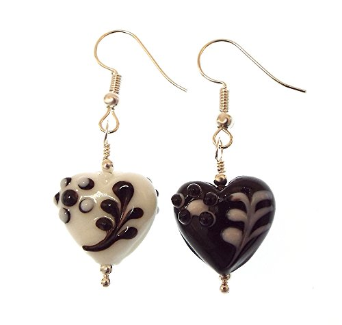 Asymmetrical Black and White Floral Art Glass Heart Earrings with Silver Toned (Bauble Art)
