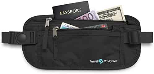 Money Belt - RFID Blocking Travel Wallet For Passport , Money , Credit Cards , Documents , and Phone - Black or Tan