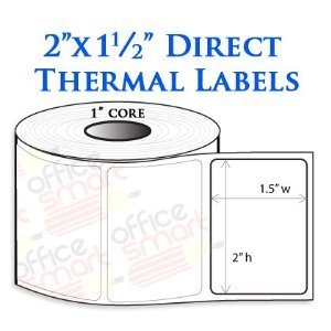 amazon com 20 rolls 2x1 5 direct thermal labels for zebra gc420d