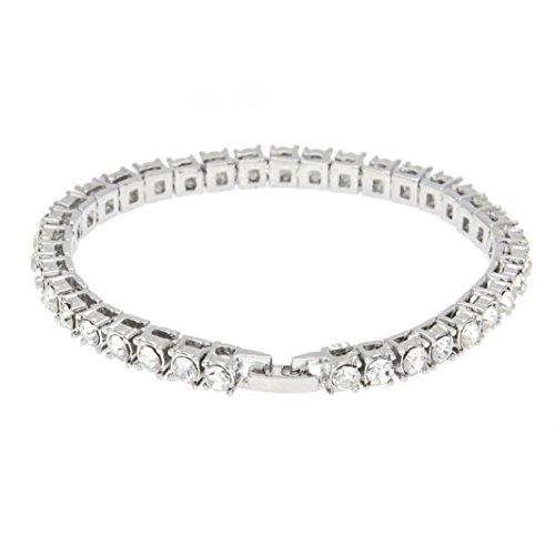 Napoo Unisex Rhinestone Bracelet Chain Bling Crystal Alloy Bracelet (C) - Open Bracelet Heart Strand
