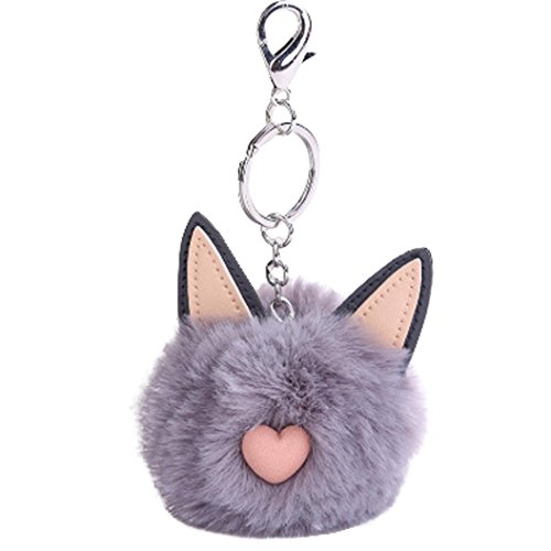 Qingfan Woman Cute Cat Ears Artificial Rabbit Fur Ball Keychain Bag Plush Car Key Ring Pendant (Gray)