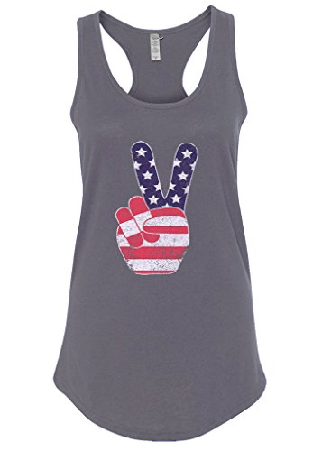 Mixtbrand Women's American Flag Peace Sign Racerback Tank Top S (Peace Sign Womens Tank Top)