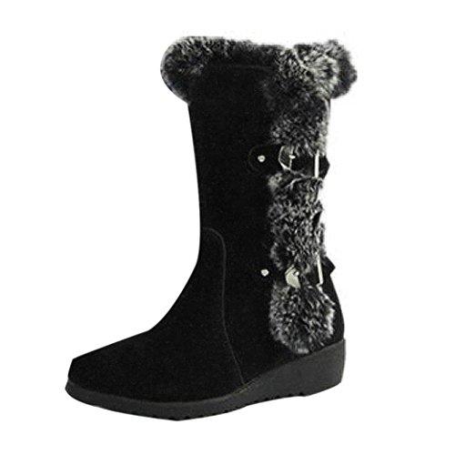 JIANGfu Womens Winter Boots Warm Mid Calf Boots Warm Winter Shoes (35, Brown) Black