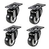 "1.5"" Swivel Caster Wheels with 360 Degree Top Plate and Polyvinyl Chloride No Noise Wheels,Heavy Duty - 330 Lbs Total Capacity for Set of 4 (Without Brakes) by TLHOME"
