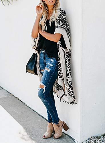 Sidefeel Women Print Pom Pom Tassel Kimono Beach Cover Up Cardigan Top One Size Black