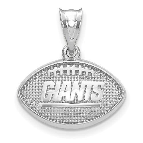 NFL Sterling Silver LogoArt New York Giants Football with Logo Pendant