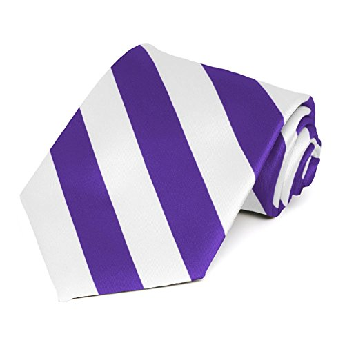 Satin Striped Extra Long Tie - TieMart Purple and White Extra Long Striped Tie