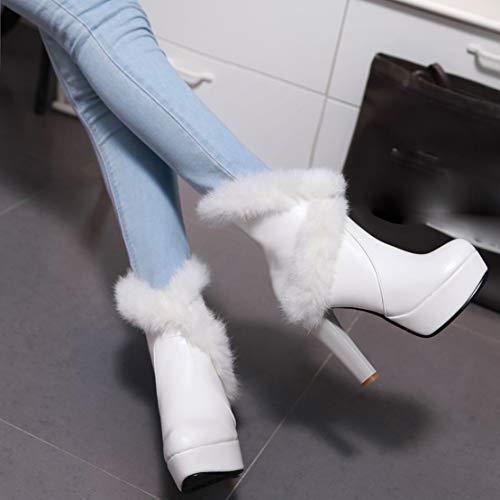 Botas Blanco De Clásicas Sintético Aiyoumei Mujer OdUqO