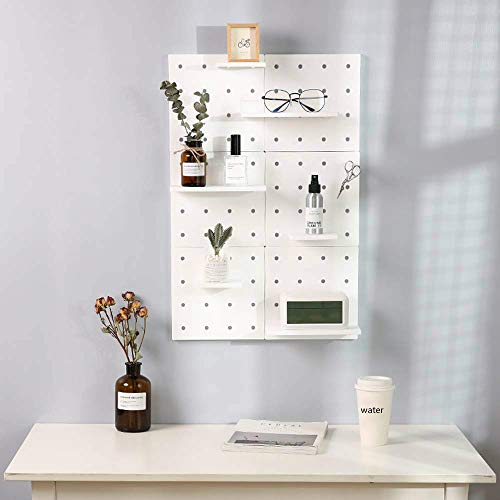 Wall Plastic Decorative DIY Convenient Pegboard Wall Mount Display Wall Organization Storage Wall Shelf for Living Room Kitchen Bathroom Office ,Set of 2(White)