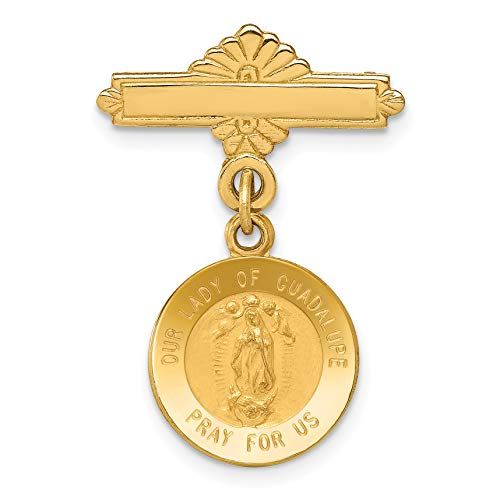 14k Yellow Gold Our Lady of Guadalupe Pray For Us Words on Dime Size Round Pin 25x17mm ()