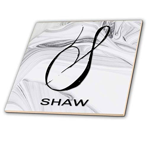 3dRose BrooklynMeme Monograms - White Marble Monogram S - Shaw - 8 Inch Glass Tile (ct_310099_7)
