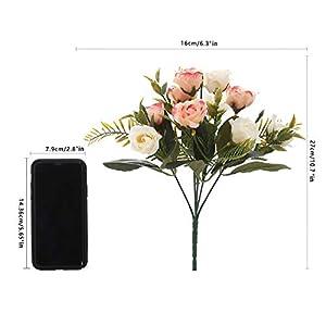 Aurdo Artificial Flowers, Fake Silk Vintage Rose Flowers Bouquet for Room, Kitchen, Garden, Wedding, Party Decor (2 Pack) … 2