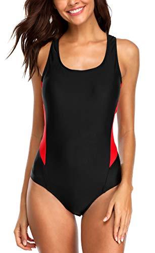 Anwell Einteilig Sport Schwimmanzug für Damen Badeanzug Push Up figurformend Bauchweg