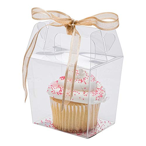 Takeout Box with Handle, Clear Boxes for Wedding, Party and Baby Shower Favors - 3.5
