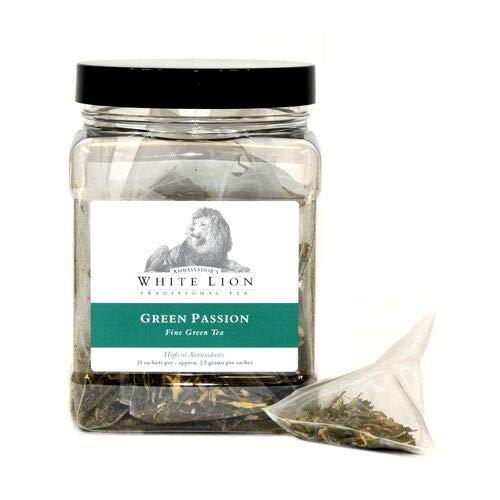 White Lion Tea - Green Passion 25 Sachets, Green Tea, High in Antioxidants ()