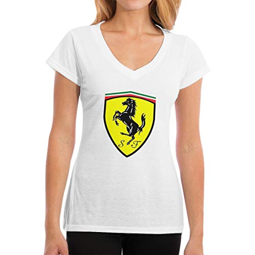 (TIANXIN New Personalized Ferrari Logo T-Shirt for Girl 100% Organic Cotton V-Neck White L)