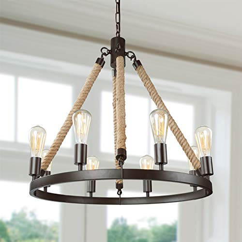LNC Rustic Farmhouse Chandeliers for Dining Rooms Hanging Ceiling Light Fixture, A02994