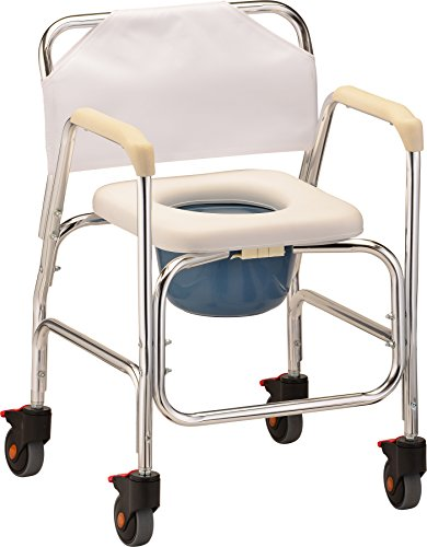 NOVA Lightweight Rolling Shower Commode Chair with Locking Wheels, Wheeled Combo Commode Chair for Bedside, Over The Toilet & Shower, Commode Chair with Padded Seat