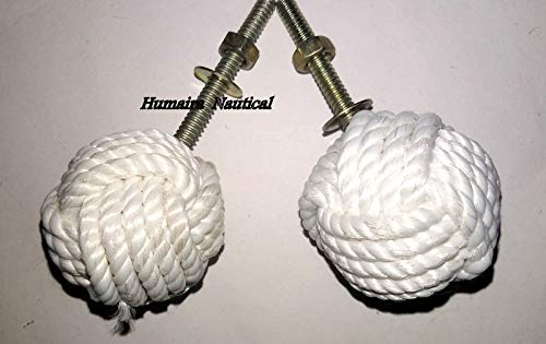 (Omaira Naaz White Jute Rope Door Knobs/Rope Knot Drawer Pulls and Knobs/Pull and Push Handle Knobs for Cabinets, Wardrobes & Cupboards/Nautical Hardware Decor, 47 mm, Set of 2 A)