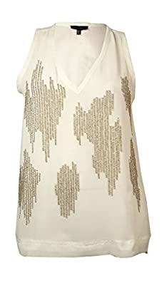 Sanctuary Women Ivory Sequin Front V Neck Sleeveless Front Lined Top S