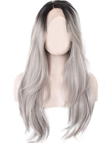 K'ryssma Ombre Gray 2 Tones Synthetic Lace Front Wig Dark Roots Long Natural Straight Silver Grey Replacement Hair Wigs For Women Heat Resistant Fiber Hair Half Hand Tied 22 Inches