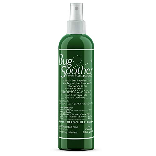 BUG SOOTHER Spray 8 oz - - Natural Mosquito and Insect Deterrent & Repellent with Essential Oils - 100% Safe for Adults, Babies, Pets, Environment - Made in -