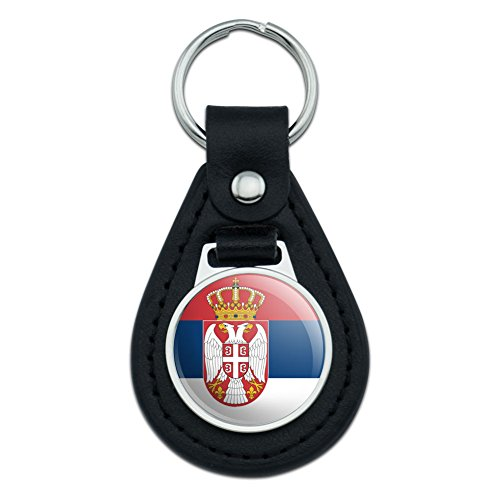 Graphics and More Serbia National Country Flag With Coat of Arms Black Leather Keychain Lthr Coat