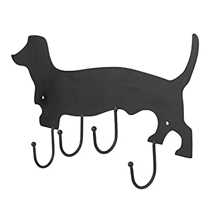 MyGift Decorative Dachshund Dog Design Black Metal Wall Mounted 4 Hook Organizer Rack - A black metal hook rack shaped like a dachshund and featuring an erasable chalkboard surface. Comes with 4 ball-capped metal hooks that are perfect for holding coats, towels, handbags, and more. Easy to attach to any wall using appropriate mounting hardware (not included). - entryway-furniture-decor, entryway-laundry-room, coat-racks - 41C5O XOkVL. SS400  -