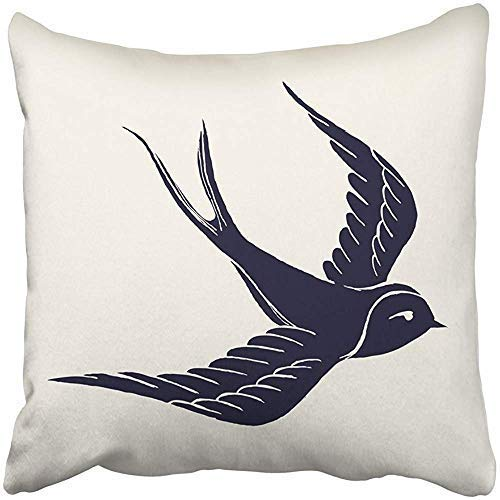 Customize Funny Throw Pillows Covers Square Bird Ink Pen Flying Swallow Silhouette with Feel Tattoo Sailor Drawn Hand Sign F Life Cushion Pillowcases Bedding Couch Home Garden Decorative Gifts from Wini2342ckey