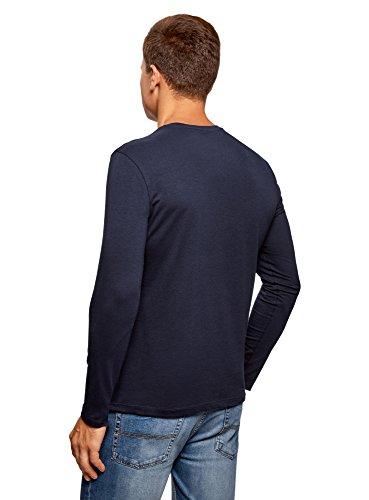 Blu Maniche shirt Etichetta Oodji T Scollo V A Uomo 7901n Lunghe Senza Ultra Con 76qwAB