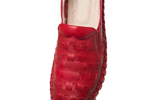 Abbigliamento Bocca EUR35UK3 moda Pompe NVXIE poco delle morbido Cuoio singole antiscivolo Donne rotonda Scarpe Tempo profonda Donne libero Lavor Inverno Autunno RED Donne Testa genuino nuove morbido Tondo incinte qrfXwYTf