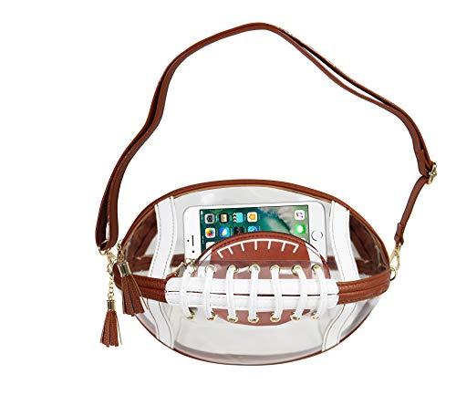 - PurseN Gameday Touchdown Football Clear Messenger Crossbody SEC NFL Football Concert Purse Bag (Brown)