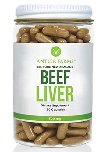 Antler Farms - 100% Pure New Zealand Beef Liver, 180 Capsules, 500mg - Grass Fed, Cold Processed Supplement, NO Hormones, NO Antibiotics, NO Chemicals, NO GMOs