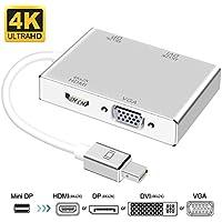 Mini DisplayPort to HDMI/DVI/DP 4K VGA Adapter, ProCIV Mini DP (Thunderbolt) 4-in-1 Adapter Converter for MacBook Air/MacBook/MacBook Pro/Microsoft Surface Pro/Pro 2/3