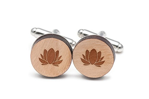 Wooden Accessories Company Lotus Cufflinks, Wood Cufflinks Hand Made in The USA