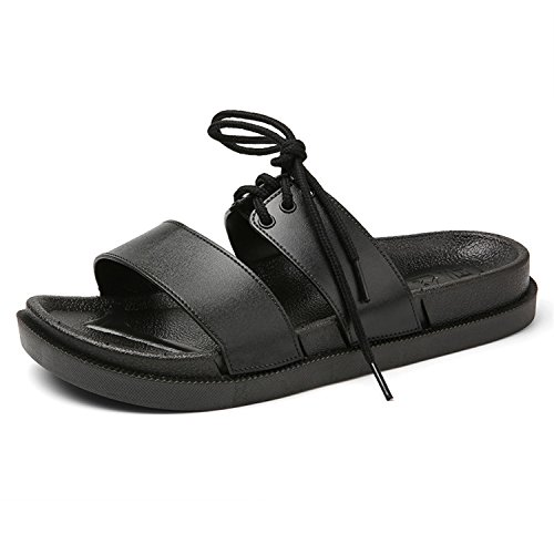 Toe Slippers a Generation of Leather flip Flops for Men and Women Lovers,Black,41