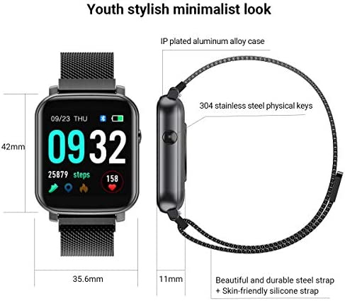 Anmino Smart Watch with Heart Rate Monitor BP Fitness Tracker IP68 Waterproof Activity Tracker Full Touch Screen Smartwatch Sleep Monitor Calorie Step Counter SMS Call Notification(Black Steel) 41C5PY3o8eL