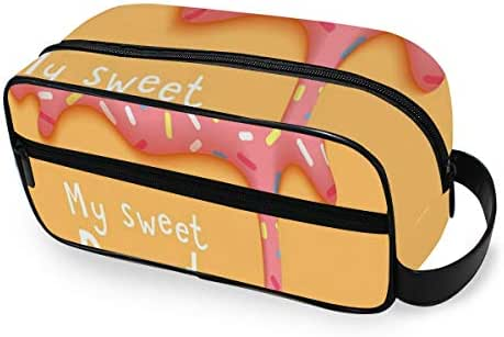 SLHFPX My Sweet Donut Pink Food Yellow Toiletry Bag Multifunction Cosmetic Bag Portable Makeup Pouch Waterproof Travel Hanging Organizer Bag for Women Men Girls