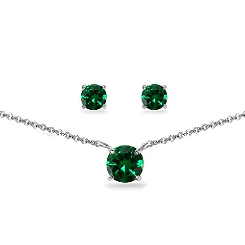 GemStar USA Sterling Silver Simulated Emerald Round Solitaire Choker Necklace and Stud Earrings Set (Round Emerald Earrings Set)
