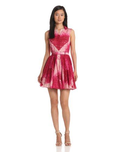 Halston Heritage Women's Sleeveless Dress with Flared Skirt and Belt, Raspberry Diamond, 6